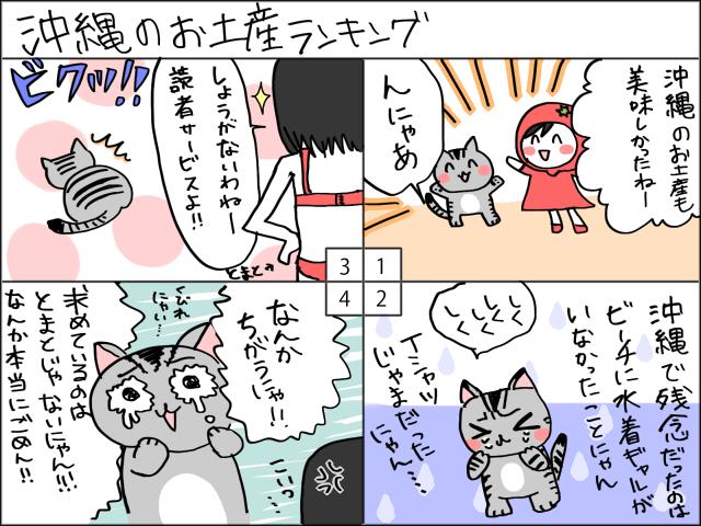 まめ太の4コマ漫画「沖縄のお土産ランキング」
