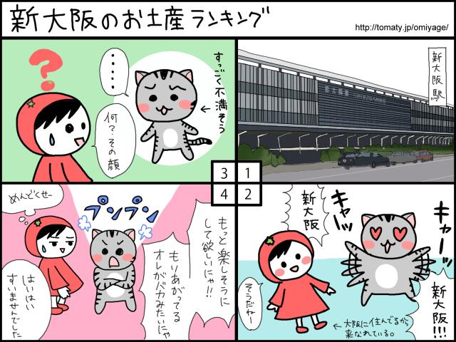 まめ太の4コマ漫画「新大阪のお土産ランキング」