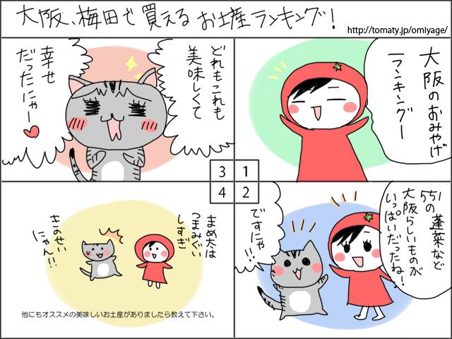 まめ太の4コマ漫画「大阪、梅田で買えるお土産ランキング」