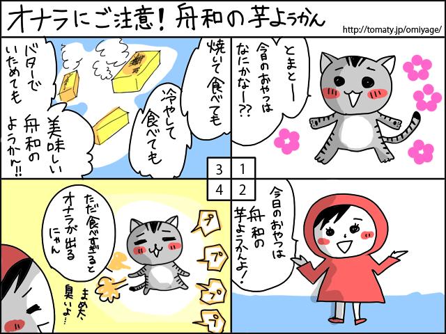 まめ太の4コマ漫画「オナラにご注意!舟和の芋ようかん」