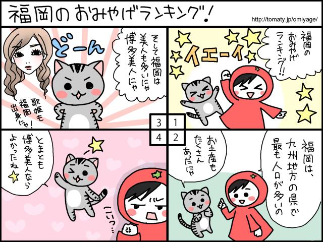 まめ太の4コマ漫画「福岡県のおみやげランキング」