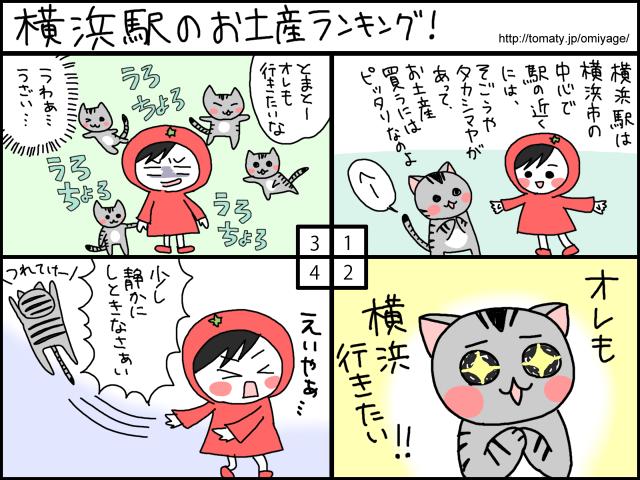 まめ太の4コマ漫画「横浜駅のお土産ランキング!」