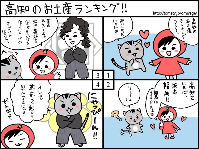まめ太の4コマ漫画「高知のお土産ランキング」