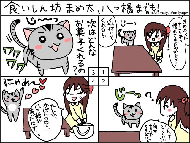 まめ太の4コマ漫画「食いしん坊まめ太、八ツ橋までも!」