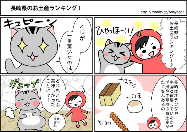 まめ太の4コマ漫画「長崎県のお土産ランキング!」